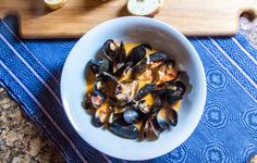 Easy dinner of coconut curry mussels - it needs only a salad and a hunk of bread for sopping up the flavorful broth.