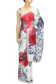 White formentera printed sari with blouse piece available only at Pernia's Pop-Up Shop.
