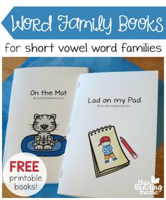 FREE Printable Word Family Books for Short Vowels Looking for some FREE printable word family books to use with your child at home or students in your classroom? This is where I am collecting all the word family books from my beginning reading curriculum, Word Family Activities, Phonics Activities, Kindergarten Activities, Learning Activities, Indoor Activities, Summer Activities, Short Vowel Activities, Preschool Writing, Preschool Lessons