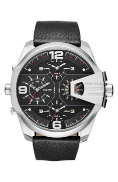 DIESEL® 'Uber Chief' Chronograph Leather Strap Watch, 55mm