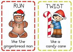 Free set of Christmas themed printable activity cards - take turns drawing cards and then acting out the requested actions