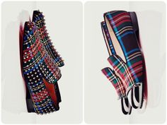Christian Louboutin tartan print spiked rollerboy & silver cap-toed rollergirl