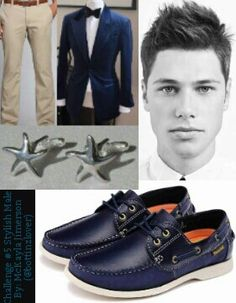 "When I hear ""male with dashing looks and great since of style"", I picture an older tribute, 17-18. This is an interview outfit that is extremely simple. His blue jacket and shoes represent the ocean while his khaki slacks easily resemble sandy beaches. A haircut that compliments his features and is very hip district wise. I added simple starfish cuff links that don't draw attention to themselves to keep with the ocean theme.  *Continues in comments*"