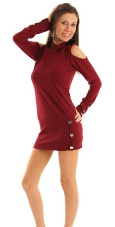 Wine Trendy Cold Shoulder Long Sleeve Sweater Dress Long Sleeve Sweater Dress, Sweater Dresses, Prom Dresses For Sale, Prom Dresses Online, Red Fashion, Fashion Outfits, Womens Fashion, Pants For Women, Clothes For Women