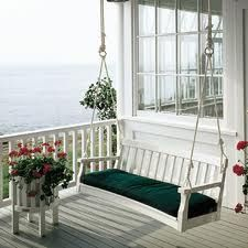 A porch swing AND an ocean? How delightful. - Garden Style - A porch swing AND an ocean? How delightful. A porch swing AND an ocean? How delightful Cottage Porch, Cottage Style Decor, Beach Cottage Style, Coastal Cottage, Beach House, House Porch, Lake Cottage, Coastal Living, Porche Chalet