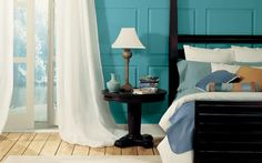 egg blue, bedroom, rustic floors