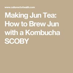 how to make jun kombucha
