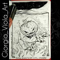 "Day 4 of my #inktober  #drawlloween hoping you like it here it is: ""pumpkin wicked this way comes... Underwater!""  - #sketches #sketch #art #artist #artofinstagram #inking #handdrawn #pencil #ink #originalart #scribble #draw #drawing #drawings #illustration #illustrations #comics #drawingoftheday #doodle #moleskine #traditional #concept #inktober2017 #drawlloween2017 #zombie #pumpkin #jackolantern #underwater"