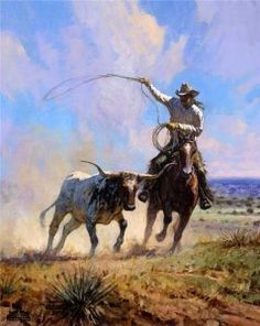 Ropin a Wild One by Martin Grelle - Whether painting the Native Americans in a dramatic, picturesque setting, or the American cowboy in the dusty cattle-working pens, Martin Grelle captures the spirit, beauty, and vastness of the West in his historically-accurate, compelling images. Grelle studies diligently to portray the diverse cultures of the American West accurately and with sensitivity. His knowledge of... Click on image to read more.