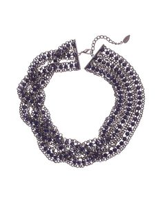 Half braided rhinestone & chain necklace via coldwater creek
