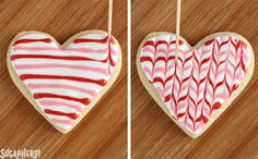 Looking for a great Valentine's Day sugar cookie recipe? These classic sugar cookies are decorated with royal icing in a variety of gorgeous Valentine's Day designs. They make wonderful edible gifts! Valentine's Day Sugar Cookies, Sugar Cookie Royal Icing, Iced Cookies, Cute Cookies, Cupcake Cookies, Cupcakes, Heart Cookies, Cookies With Royal Icing, Cookie Favors