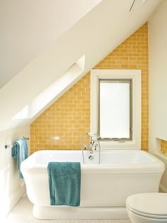 37 Excellent Sunny Yellow Bathroom Design Ideas: 37 Excellent Sunny Yellow Bathroom Design Ideas With White Yellow Brick Wall And Bathtub And Blue Towel And Toilet