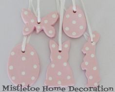 Pink polka dot Easter ornaments from salt dough
