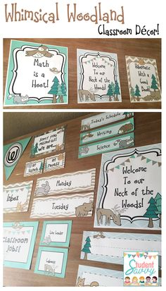 Whimsical Woodland Classroom Décor! Classroom Name tags, posters, classroom jobs, signs, banners, and more!