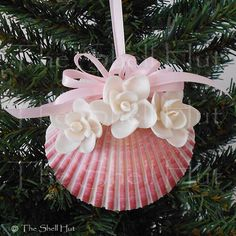 Seashell Christmas Pink Scallop Ornament White Flowers See them at the Shell Hut http://www.ebay.com/sch/shellhut/m.html?item=350905454270&ssPageName=STRK%3AMEUSX%3AIT&rt=nc&_dmd=2
