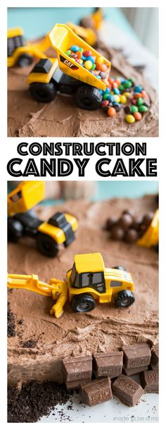 Construction Candy Cake: the perfect simple cake that any boy will love! Construction Candy Cake: the perfect simple cake that any boy will love! Toddler Boy Birthday, Baby Boy Birthday Cake, 2nd Birthday, Digger Birthday Cake, Birthday Ideas, Create A Cake, How To Make Cake, Chocolates, Digger Cake