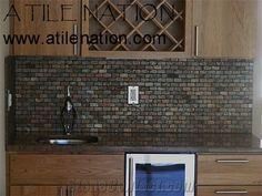Granite Bar Top With Slate Tile Backsplash From United States Stonecontact Com