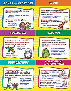 Nouns, pronouns, Verbs, adjetives, adverbs, prepositions, conjunctions and interactions
