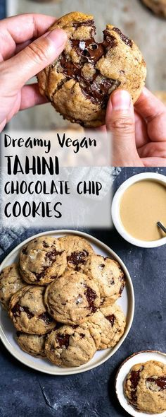 chewy vegan tahini chocolate chip cookies are laced with chunks of dark ch. These chewy vegan tahini chocolate chip cookies are laced with chunks of dark ch.These chewy vegan tahini chocolate chip cookies are laced with chunks of dark ch. Vegan Treats, Vegan Foods, Cookies Vegan, Chickpea Cookies, Chickpea Cookie Dough, Healthy Cookies, Diet Foods, Patisserie Vegan, Gateaux Vegan