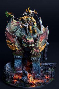 Gordrakk The First of Gork by Emil Nyström · Putty&Paint Warhammer Figures, Warhammer Paint, Warhammer Models, Warhammer 40k Miniatures, Warhammer Fantasy, Dragon Miniatures, Fantasy Miniatures, Miniature Bases, Fantasy Battle