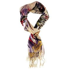 Christian Audigier 18x75 Feather Printed Scarf - Cream  List Price: $126.00 Buy Now: $19.99