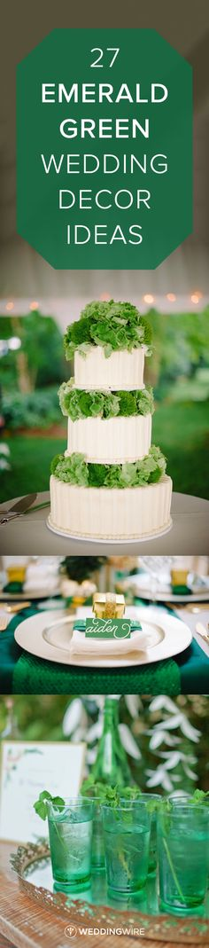 27 Emerald Green Wedding Decor Ideas - Is green in your wedding color palette? Looking for St. Patrick's Day party inspiration? Follow @weddingwire for more of our favorite green wedding ideas! {Melissa Oholendt Photography; Jasmine Nicole Photography; Andi Mans Weddings}