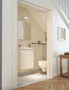 Kohler Bathrooms - great idea for an under stairs cloakroom Small Downstairs Toilet, Small Toilet Room, Downstairs Cloakroom, Basement Bathroom, Basement Toilet, Bathroom Cleaning, Bathroom Design Small, Bathroom Layout, Bathroom Interior Design