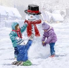 Children Making Snowman at FramedArt.com