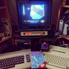 Shared by velorabbit #c64 #microhobbit (o) http://ift.tt/1U6AnsV the C64 C= monitor drives and the TRS-80 CoCo 3. Zaxxon on the C64 with Slik Stik Atari2600 joystick. #C64 #Tandy #trs80colorcomputer #zaxxon #retrocomputing