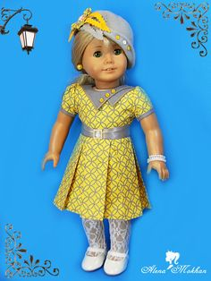 French Vacation Outfit with cloche hat.Adorable fabric and design! American Girl Doll Shoes, American Girl Dress, American Girl Clothes, American Dolls, Ag Doll Clothes, Doll Clothes Patterns, Dresses Kids Girl, Girl Outfits, America Girl