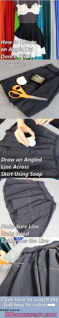 How to create an angle cut dance skirt for a dance costume.