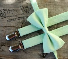 Solid Mint Green bow tie & matching suspenders for little boys. The Baxter Boy