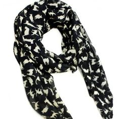 Cat Scarf- Im a crazy cat lady for sure, and this scarf is awesome. Lightweight, classy with a little sass! This scarf is black with white