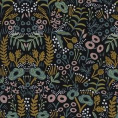 Rifle Paper Co - Menagerie Canvas - Tapestry Canvas in Midnight Metallic