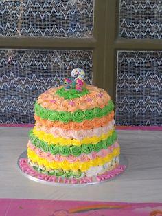 Rainbow layered buttercream cake 2tier cake