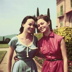 Leslie Caron and Brigitte Bardot, 1954 Love their dresses. via wehadfacesthen