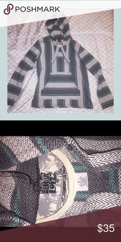 NWOT Señor Lopez Baja hoodie Baja poncho style pullover hoodie by Señor Lopez. Features: built in hood with drawstrings, pre-shrunk, thick non-stretch construction, made from recycled t-shirts, imported, and has a woven stripe design. Wash in warm water and dry with low heat! Sweaters