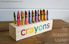 """That's My Letter: """"C"""" is for Crayon Holder.  DIY Crayon holder in a 3"""" X 8"""" """"block"""" of wood."""