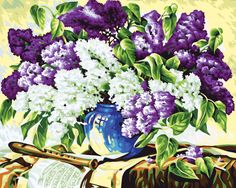 Purple Flower Frameless Picture Painting By Numbers Wall Art DIY Canvas Oil Paintng Home Decor Living Room Wedding Decor G206