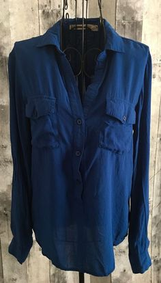 Anthropologie Chelsea & Violet Blouse Top Tab Sleeves Rayon Blue Size Small #Anthropologie #Blouse