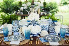 Al Fresco Luncheon In Blue And White, Summer Blue & White Tablescape