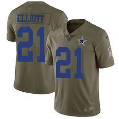 f047475af Nike Cowboys  21 Ezekiel Elliott Olive Men s Stitched NFL Limited 2017  Salute To Service Jersey