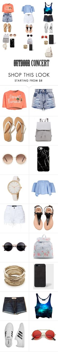 """""""Untitled #29"""" by kayleigh-ann-geerman ❤ liked on Polyvore featuring Hollister Co., Chloé, Recover, LE3NO, New Look, Sole Society, adidas, 60secondstyle and outdoorconcerts"""