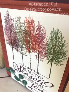 Winter Woods – Autumn Colors Thanksgiving/Birthday Card with the Stamparatus – Cheri's Cards, Independent Stampin' Up! Fall Cards, Winter Cards, Christmas Cards, Christmas Flyer, Xmas, Thanksgiving Cards, Thanksgiving Birthday, Wood Stamp, Card Patterns