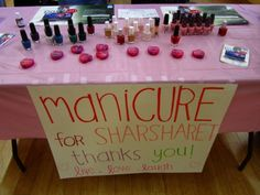 OMGG could totally do this for fundraising since i have enough polishes as a nail salon does!! lol