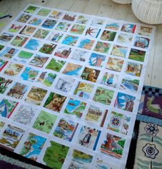 modflowers: vintage tea towel patchwork quilt