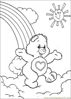Care Bear Coloring Pages Full Bear Coloring Pages, Cartoon Coloring Pages, Coloring Pages To Print, Free Printable Coloring Pages, Adult Coloring Pages, Coloring Sheets, Coloring Pages For Kids, Free Coloring, Coloring Books