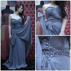 #silver #prom #dress #long #elegant #zircons