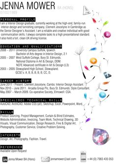 my interior design cv cirriculum vitae - Interior Design Resume Sample