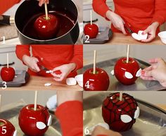 Spider-Man Candy Apples | candy apple decorating tutorial. These Spiderman themed candy apples ...